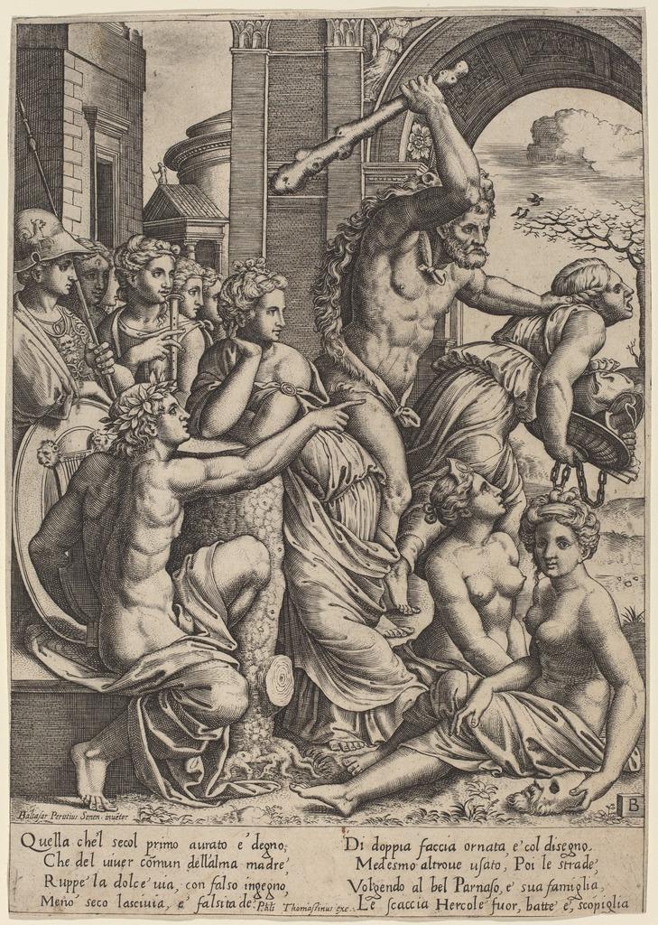 Výsledok vyhľadávania obrázkov pre dopyt envy driven from the temple of the muses by master of the die after baldassare peruzzi