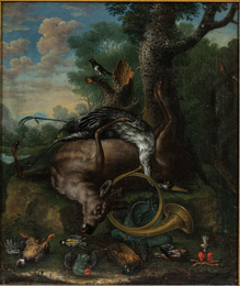 Still Life with Game and Horn in a Landscape