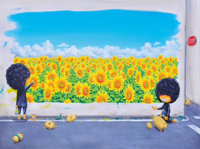 Shiro Utafusa, 'Blossom In The City x Golden Pigs', 2019, Painting, Oil on canvas, Art WeMe Contemporary Gallery