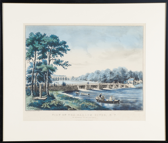 """Currier & Ives, '""""View On The Harlem River, Ny, The Highbridge In The Distance""""', 1852, Print, Hand colored lithograph, Rago/Wright"""