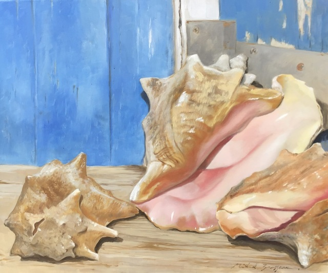"Michel Brosseau, '""Pretty in Pink"" photorealistic oil painting of conch shells in front of a blue door', 2019, Eisenhauer Gallery"