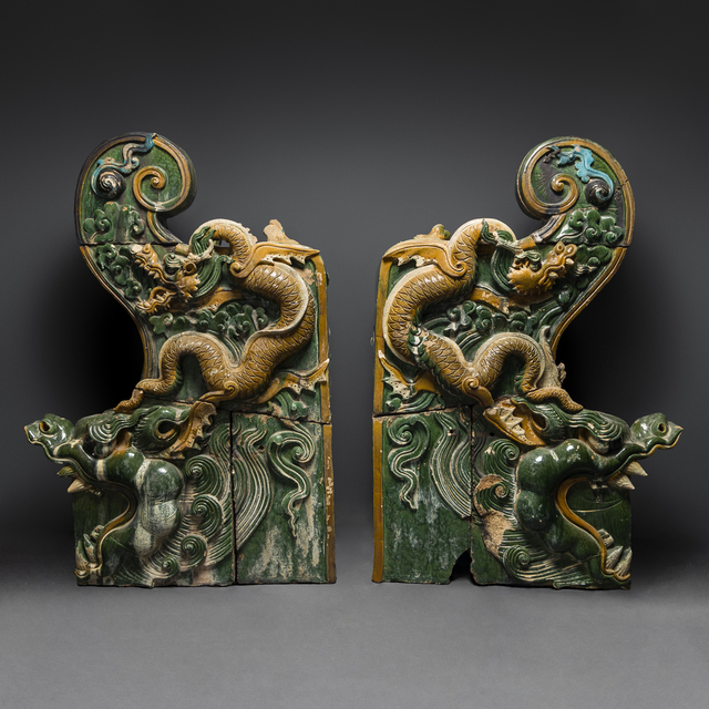 Unknown Chinese, 'A Pair of Ming Dynasty Glazed Dragon Temple Tiles', 1368-1644, Barakat Gallery
