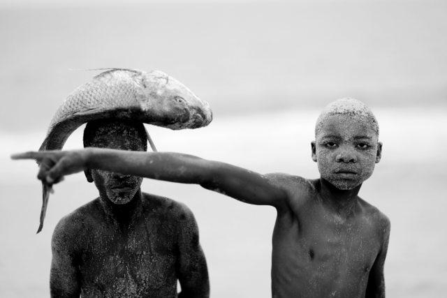 Mário Macilau, 'Two boys with a fish, Faith Series ', 2018, Ed Cross Fine Art