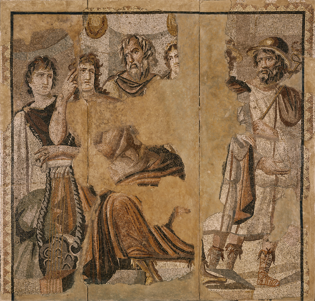 'Mosaic Floor with Achilles and Briseis',  2nd century, J. Paul Getty Museum