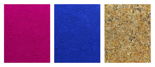 , 'pictures of pigment: monochroem, pink-blue-gold, after yves klein,' 2016, Galeria Nara Roesler