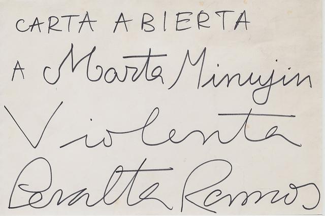 , 'Carta abierta a Marta Minujin,' , Del Infinito
