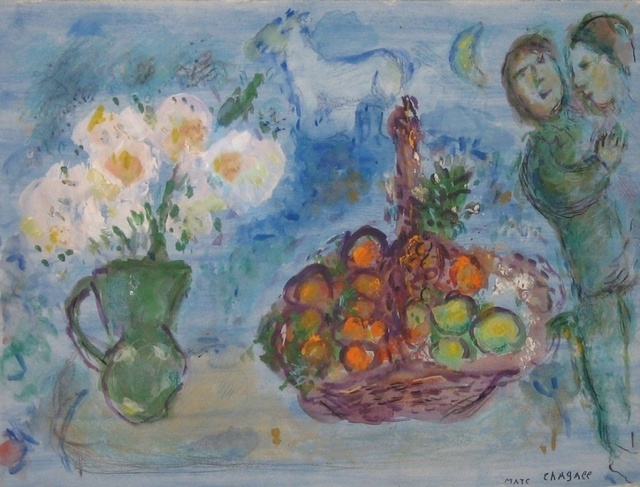 Marc Chagall, 'Corbeille de Fruits', 1980, Drawing, Collage or other Work on Paper, Gouache, watercolor, crayon, oil on paper, David Benrimon Fine Art