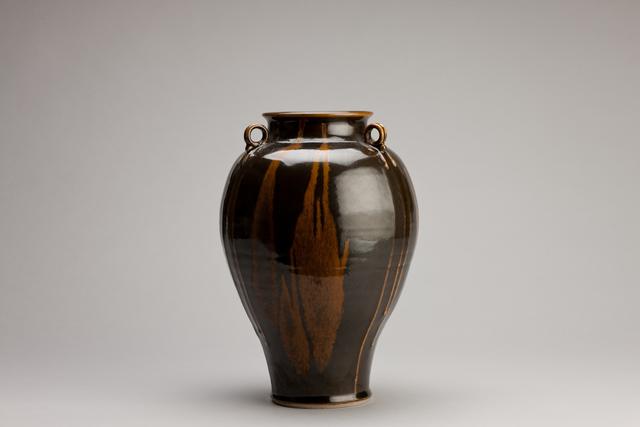 Brother Thomas Bezanson, 'Vase with lugs, dark celadon glaze with iron yellow', n/a, Pucker Gallery