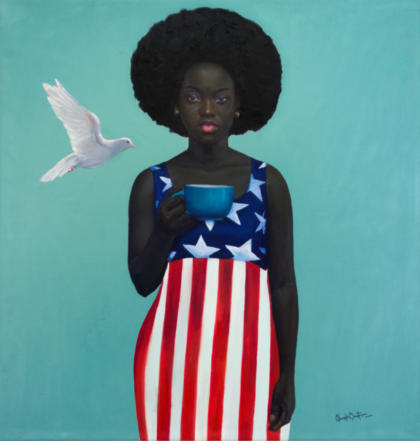 oluwole omofemi, 'Blue Cup ', 2020, Painting, Oil and acrylic on canvas, Out of Africa Gallery