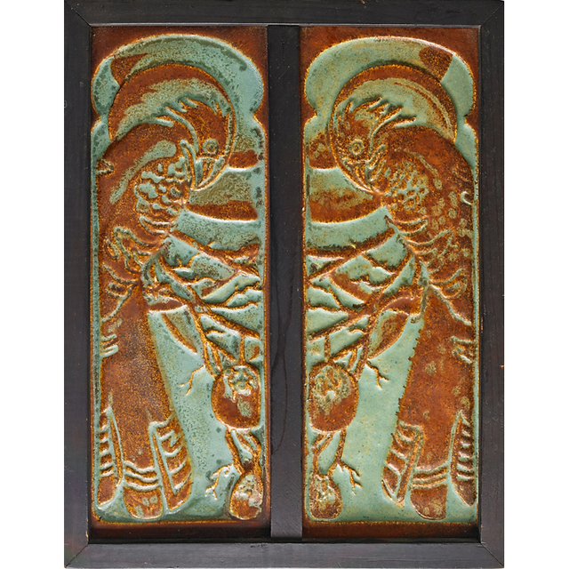California Clay Products, 'Pair Of Tall Tiles With Parrots (Framed), South Gate, CA', 1923-33, Rago/Wright