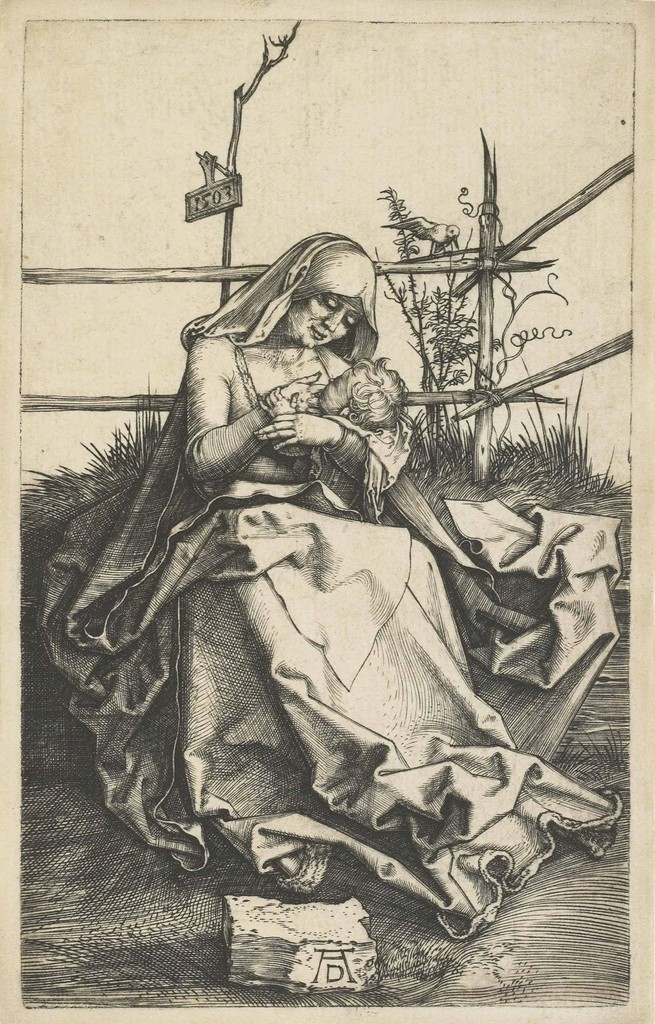 The Virgin and Child on a grassy Bench (B. 34; M., Holl. 31; S.M.S. 36)