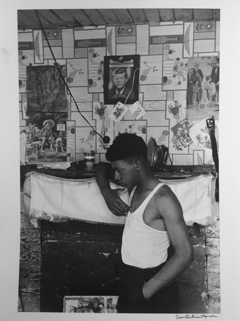 , 'Untitled, Sharecroppers, South Carolina (man in white tee shirt near fireplace, JFK),' 1965, Robert Klein Gallery