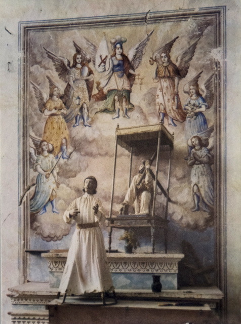 Eliot Porter, 'Alter with unidentified male saint, Christ carrying cross, and fresco of Archangels, in church of San Miguel Xochitl, Mexico', 1955, Scheinbaum & Russek Ltd.