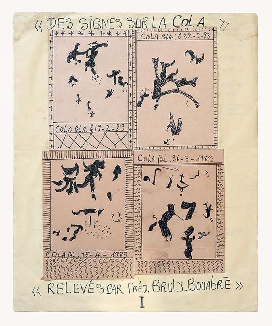 , 'Les signes sur la cola relevés par Fred. Bruly. Bouabré (I),' 1983, Magnin-A