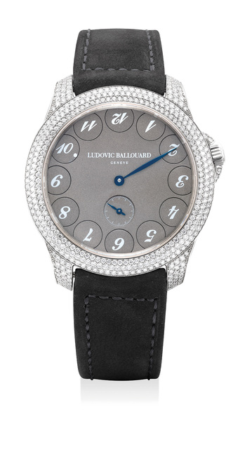 """Ludovic Ballouard, 'A fine and rare platinum and diamond set wristwatch with unusual """"upside down"""" dial, warranty and box', Circa 2015, Phillips"""