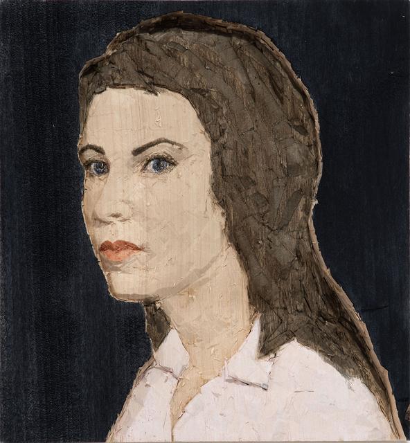 Stephan Balkenhol, 'Woman with pink t-shirt and blue background', 2015, Monica De Cardenas