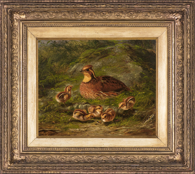 , 'Quail and Young,' 1865, Godel & Co.