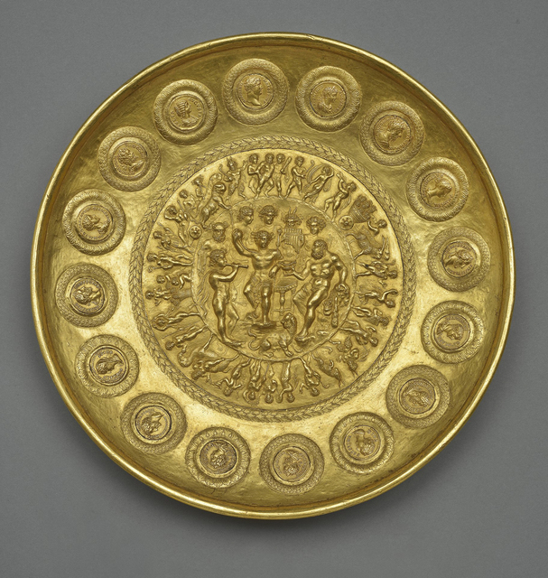 , 'Offering Bowl with Bacchus, Hercules, and Coins,' about 210, Legion of Honor