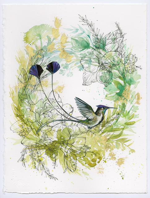 , 'Spatuletail Hummingbird on Green Wreath,' 2015, BoxHeart