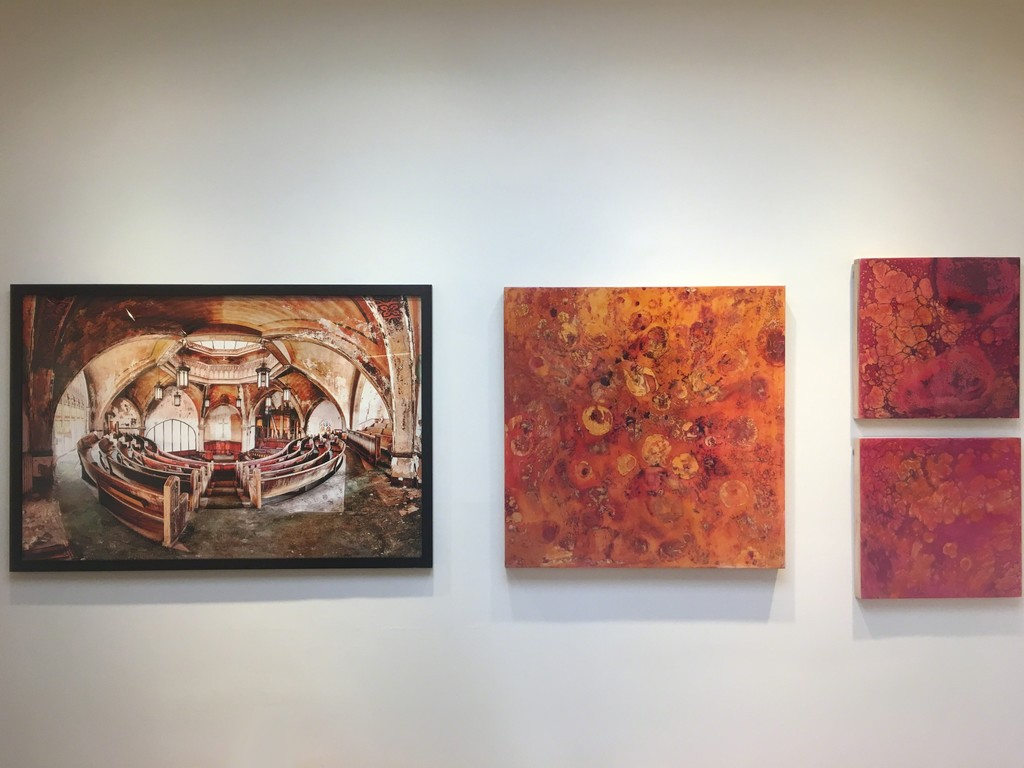 "L to R: "" Octosecular Perspective"" by Eric Holubow, ""Series 18 #5"" by Mary Rousseaux, ""Series 18 #2"" by Mary Rousseaux, ""Series 18 #3"" by Mary Rousseaux"