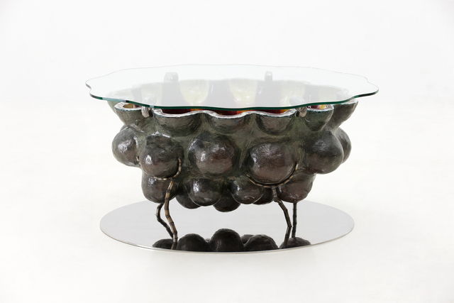 , 'Glazed Ceramic Coffee Table with Stainless Steel Base and Glass Top,' 2016, R & Company
