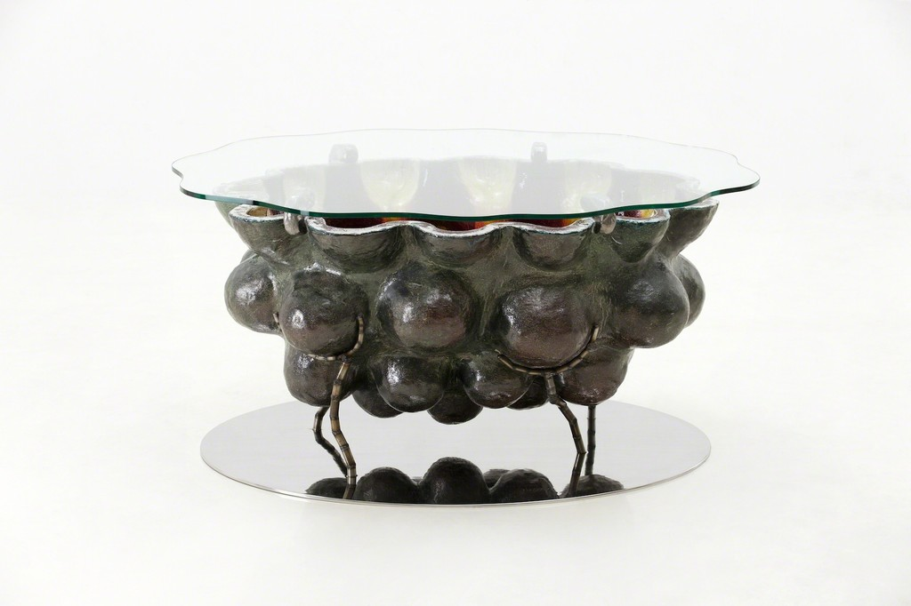 Glazed Ceramic Coffee Table with Stainless Steel Base and Glass Top