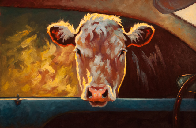 ", '""Going My Way III"" Oil painting of a brown cow peaking through a car window,' 2018, Eisenhauer Gallery"