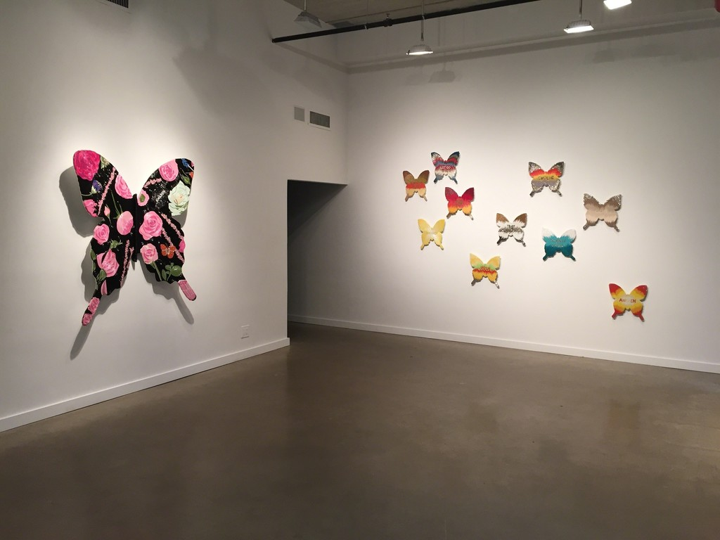 """Awaken (Floral)"" (left) and Butterfly installation (right)"