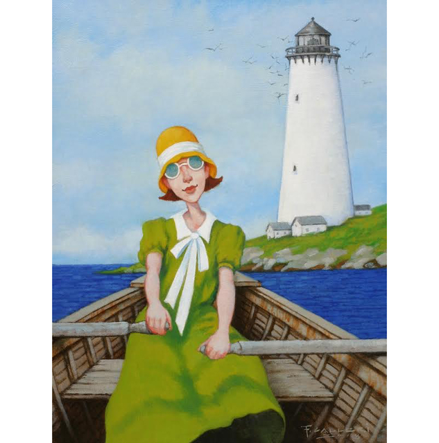 """Fred Calleri, '""""Sunday's Beacon"""" oil painting of a woman in a green dress rowing a boat by a lighthouse', 2018, Painting, Oil on Canvas, Eisenhauer Gallery"""