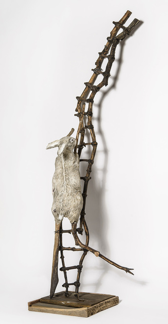 Elizabeth Jordan, 'Sculpture of Rabbit crawling up wood ladder: 'Talking about Hard Things'', 2014, Ivy Brown Gallery