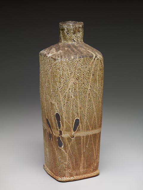, 'Square vase, shino glaze over iron slip with brushwork,' , Pucker Gallery