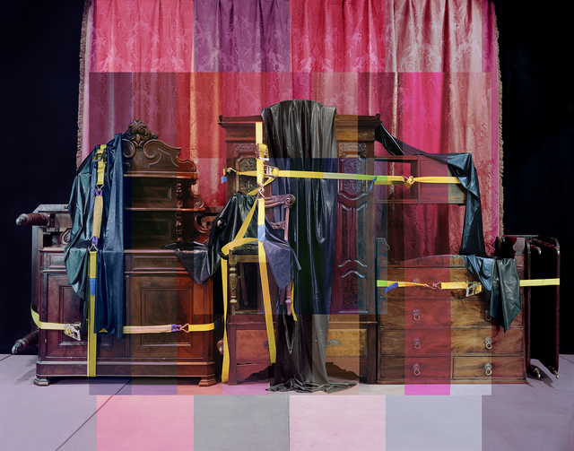 , '#Victorian #mahogany #19thcentury #wardrobe #chiffonier #dining #chair #diningtable #dropleaf #table #bedsidecabinet #chestofdrawers #damask #silk #curtain #rubber #ratchetstrap (We are not ready yet),' 2015, Cynthia Corbett Gallery