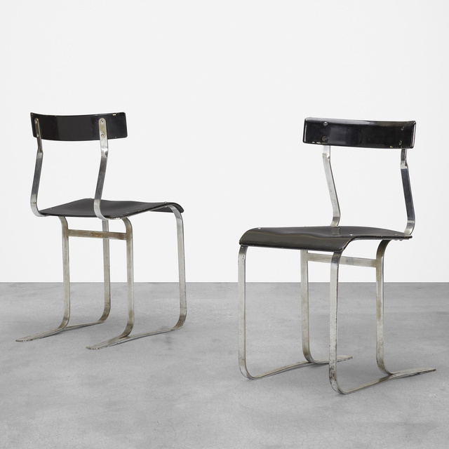 Marcel Breuer, 'chairs model WB301, pair', c. 1933, Design/Decorative Art, Chrome-plated steel, molded and lacquered plywood, Rago/Wright