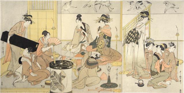 , 'Niwaka Festival Performers in Yoshiwara Teahouse,' ca. 1800-01, Scholten Japanese Art