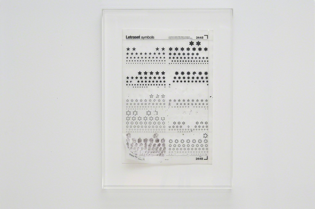 Emily Kocken, She said: pick a star. he said: every star picks a body, letraset on paper, perspex case, 2015