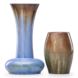 Tall Flaring Vase And Short Ovoid Vase, Flambé Glazes, Flemington, NJ
