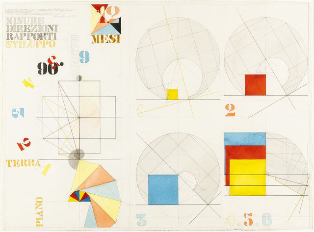 "Giò Pomodoro, 'Progetto di scultura ""I mesi""', 1978, Drawing, Collage or other Work on Paper, Mixed technique on paper, Martini Studio d'Arte"