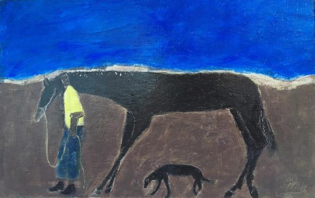, 'Walking the Track/ Horse Groom & Dog/ Blue,' 2019, Emmanuelle G Gallery