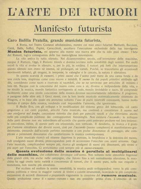 """Luigi Russolo, '""""The Art of Noises: Futurist Manifesto"""" (""""L'arte dei rumori: Manifesto futurista"""") ', 1913, Guggenheim Museum"""