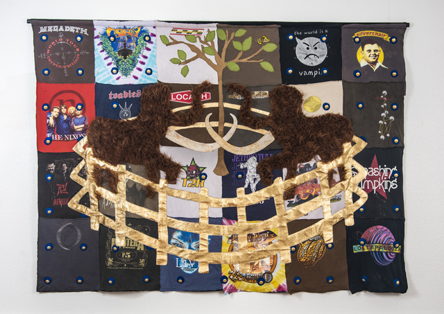 Joshua Goode, ''The Mammoth Tapestry'', 2018, Sculpture, Artist's old concert t-shirts, fabric, canvas, gold leaf, leather, faux fur, Ivy Brown Gallery