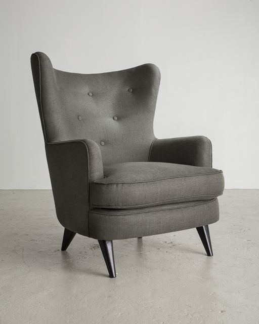 ", 'Gray lounge chair (seat height: 18.25""), designed by Joaquim Tenreiro,' ca. 1954, R & Company"