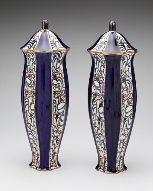 , 'Serapis Blue Blossoms Vase Pair,' ca. 1912, Jason Jacques Gallery