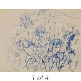 Study for Blind Man's Bluff (39-91); Boys Fighting the Wheat (39-118); Study for Blind Man's Bluff (39-92); Study for Blind Man's Bluff (38-23)