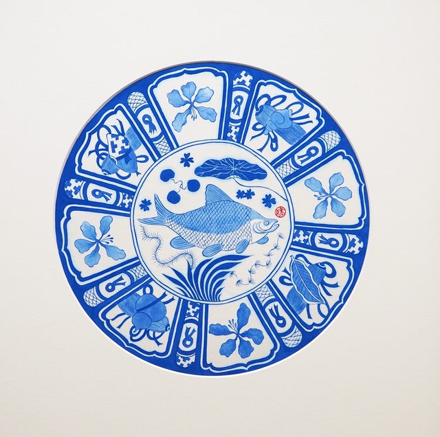 Hoi Kiu Angel Hui, 'My Little Hong Kong- Blue and White Series: Fish in water', 2020, Painting, Chinese mineral pigment on rice paper, Alisan Fine Arts