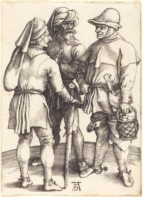 Albrecht Dürer, 'Three Peasants in Conversation', ca. 1497, Print, Engraving on laid paper, National Gallery of Art, Washington, D.C.