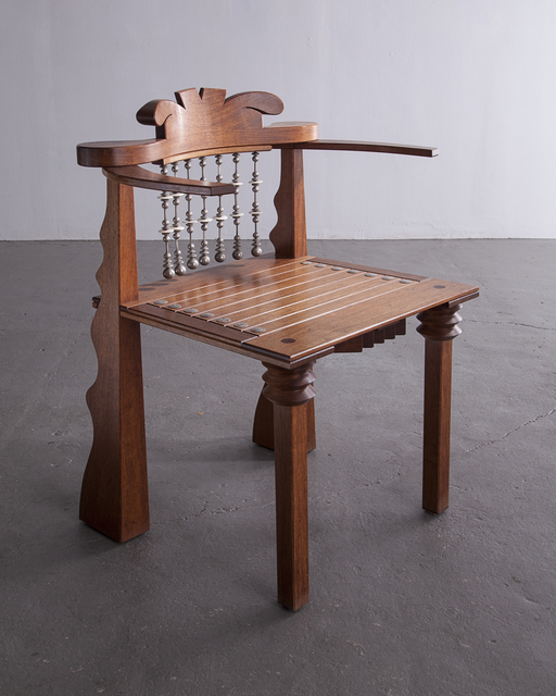 ", '""African Chair"" in claro walnut, leather, ebony, copper and beads. ,' 1988, R & Company"