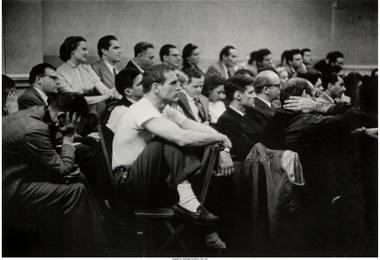 Paul Newman in white t-shirt taking a class at The Actors Studio, New York