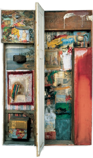 Robert Rauschenberg, 'Interview', 1955, Mixed Media, Combine: oil, fabric, found painting, photographs, found drawing, lace, wood, envelope, found letter, printed reproductions, toweling, and newspaper on wood structure with brick, string, fork, softball, nail, metal hinges, and wood door, Robert Rauschenberg Foundation