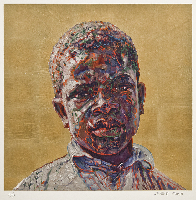 Hung Liu 刘虹, 'Clarence Weems (Gold) 1/9', Print, Monotype with gold leaf, Gail Severn Gallery
