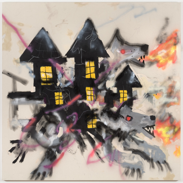 Robert Nava, 'Haunted Wolf House', 2019, Painting, Acrylic and grease pencil on canvas, Night Gallery